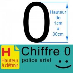 Chiffre adhésif numéro 0 hauteur à définir de 1 à 30 cm
