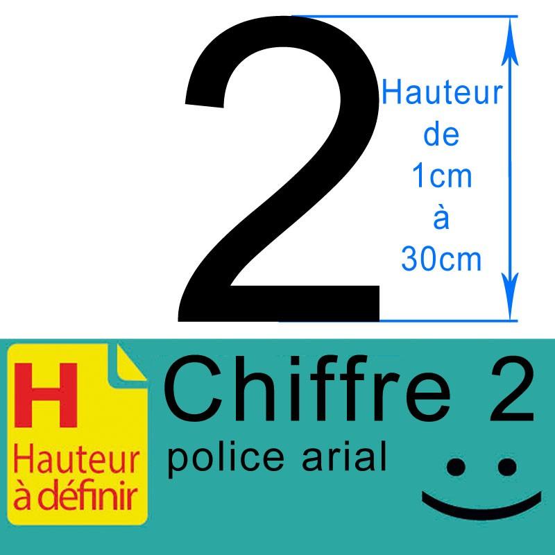 Chiffre adhésif numéro 2 hauteur à définir de 1 à 30 cm