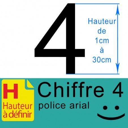 Chiffre adhésif numéro 4 hauteur à définir de 1 à 30 cm
