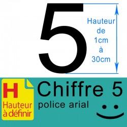 Chiffre adhésif numéro 5 hauteur à définir de 1 à 30 cm