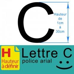 Lettre adhésive C hauteur à...