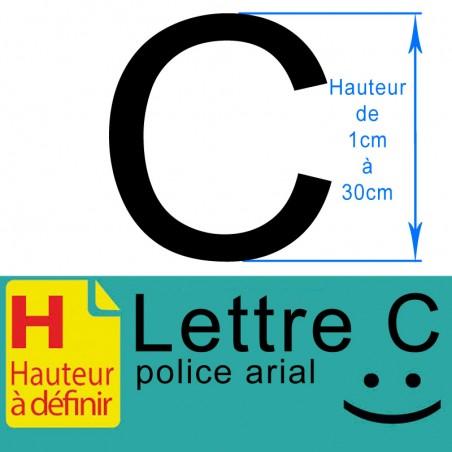 Lettre adhésive C hauteur à définir de 1 à 30 cm