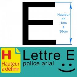Lettre adhésive E hauteur à...