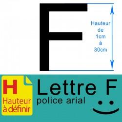 Lettre adhésive F hauteur à...