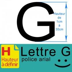 Lettre adhésive G hauteur à...