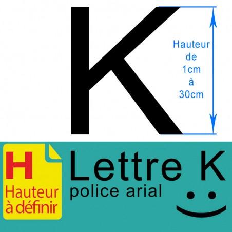 Lettre adhésive K hauteur à définir de 1 à 30 cm