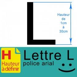 Lettre adhésive L hauteur à définir de 1 à 30 cm
