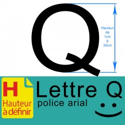 Lettre adhésive Q hauteur à...