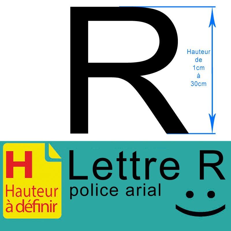 Lettre adhésive R hauteur à définir de 1 à 30 cm