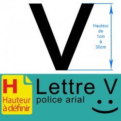 Lettre adhésive V hauteur à...