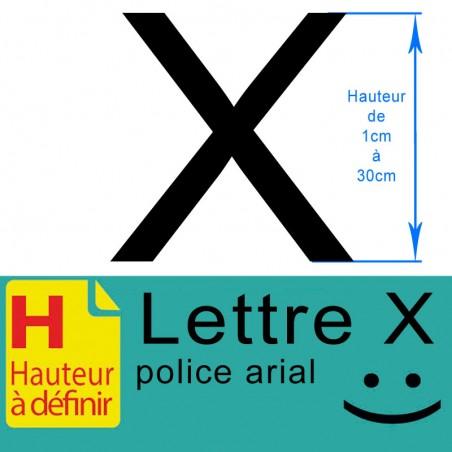 Lettre adhésive X hauteur à définir de 1 à 30 cm