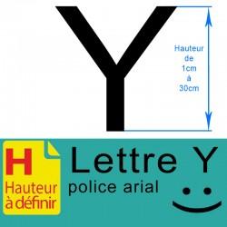 Lettre adhésive Y hauteur à définir de 1 à 30 cm