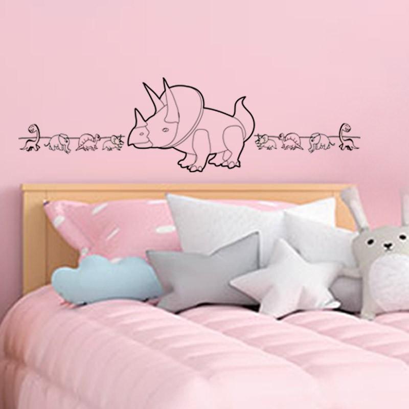 Sticker mural chambre enfant tête de lit dinosaure