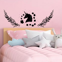 Sticker mural chambre enfant tête de lit licorne