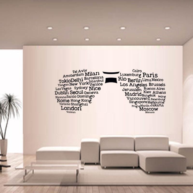 Sticker mural lunette et villes du monde