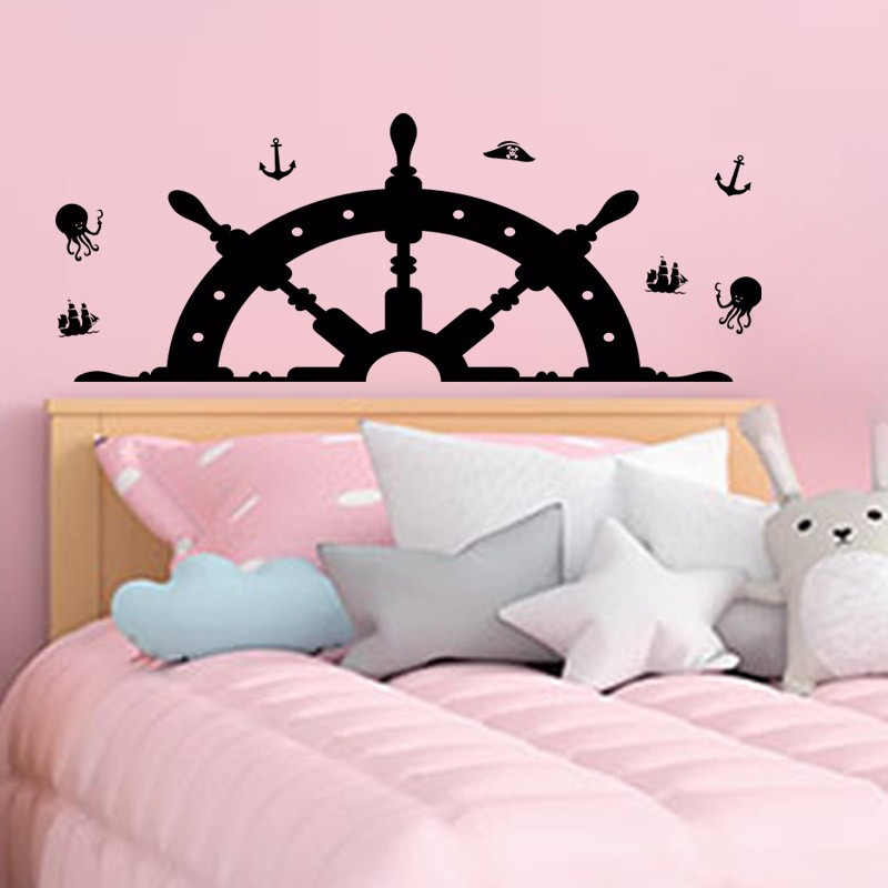 Sticker mural chambre enfant tête de lit barre de gouvernail