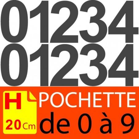 Pochettes chiffres adhésifs 20 cm chiffres autocollants 200 mm