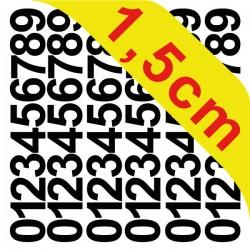 Pochettes petits chiffres adhésifs 1,5 cm stickers chiffres autocollants