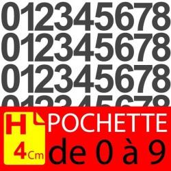 Pochettes chiffres adhésifs 4 cm stickers. Chiffres autocollants