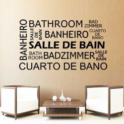 Sticker mural citation BATHROOM SALLE DE BAIN BANHEIRO BADZIMMER CUARTO DE BANO