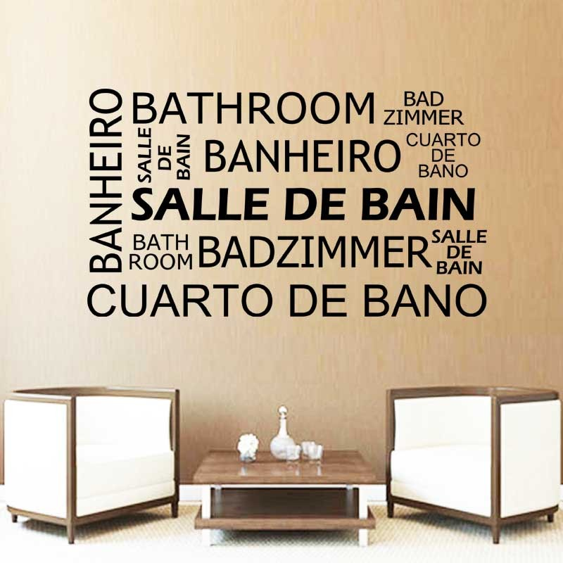 Sticker mural citation BATHROOM SALLE DE BAIN BANHEIRO BADZIMMER CUARTO DE BANO