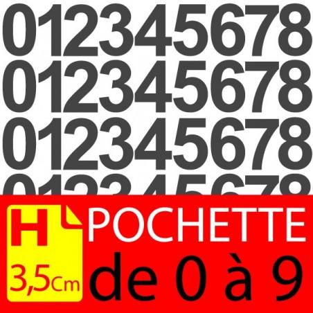 Pochettes chiffres adhésifs 3.5 cm stickers. Lettres autocollantes