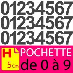Pochettes chiffres adhésifs 5 cm stickers. Lettres autocollantes