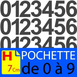 Pochettes chiffres adhésifs 7 cm stickers. Lettres autocollantes