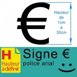 Signe adhésif €, euro hauteur à définir de 1 à 30 cm