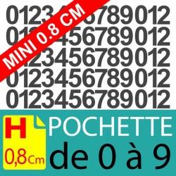 Pochettes chiffres adhésifs 0.8 cm stickers chiffres autocollants