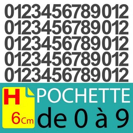 Chiffres adhésifs 6 cm, chiffres autocollants