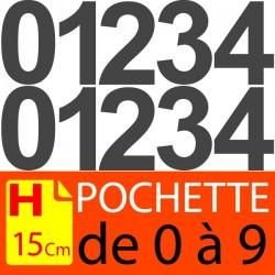 Pochettes chiffres adhésifs 15 cm stickers. Lettres autocollantes