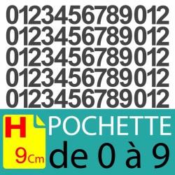 Chiffres adhésifs 9 cm, chiffres autocollants