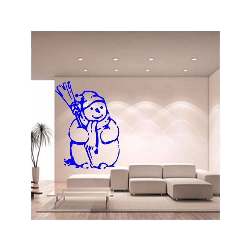 Sticker mural décoration bonhomme de neige Noel ref 2
