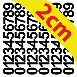 Pochettes chiffres adhésifs 2 cm stickers