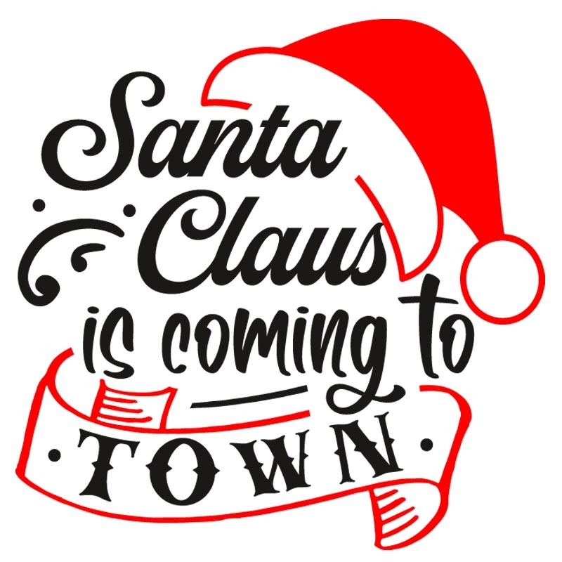 Sticker mural décoration Noel Santa Claus is coming to town