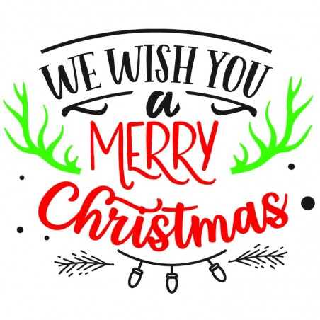 Sticker mural décoration Noel We wish you a merry Christmas